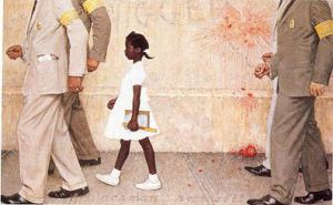 """The Problem We All Live With,"" Norman Rockwell, 1963. Oil on canvas, 36"" x 58"". Illustration for ""Look,"" January 14, 1964. Norman Rockwell Museum Collections. ©NRELC, Niles, IL."
